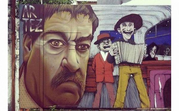 """Grafit """"Ko to tamo peva"""" na zidu u Sao Paolu"""
