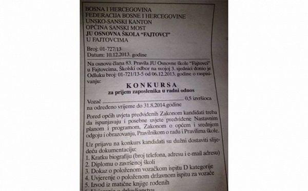 Konkurs u Sanskom Mostu: Osnovna škola traži pola vozača