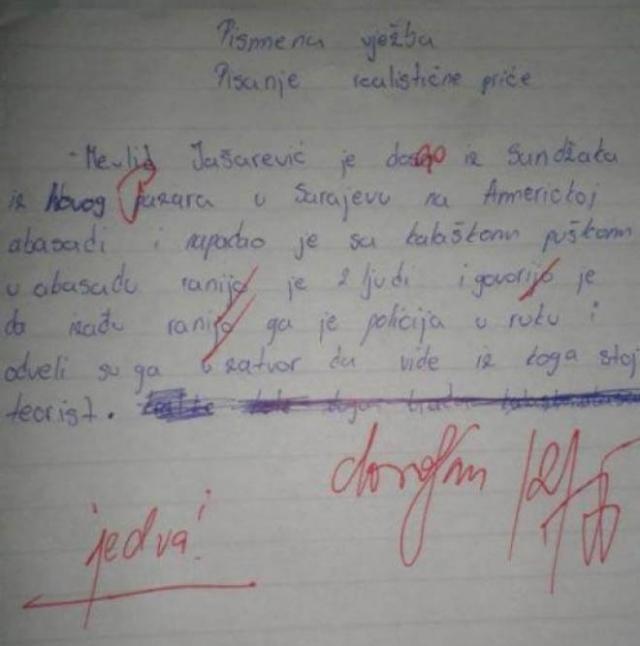 "Dovoljan ""2"": Pismeni rad za Mevlida Jašarevića"