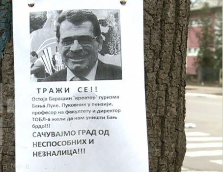 Plakati u Banjaluci: Traži se Ostoja Barašin