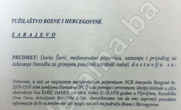 Dokumenti SIPA-e potvrđuju: Šarić se 2010. krio u BiH