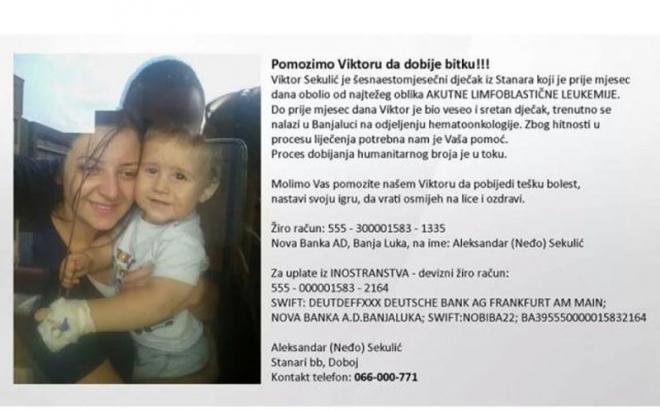 Pomozimo malom Viktoru iz Stanara kod Doboja
