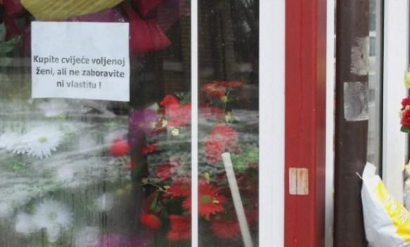 Zanimljiv natpis na banjalučkoj cvjećari