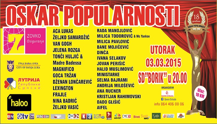 Oskar popularnosti 3. marta u Banjaluci