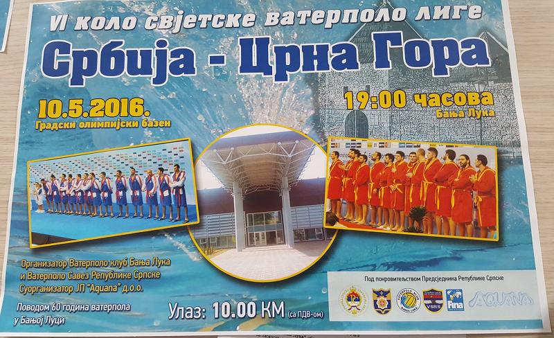 Poznata satnica vaterpolo meča Srbija – Crna Gora u Banjaluci