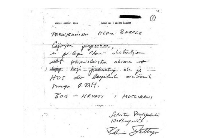 """Izetbegovićevo ratno pismo HOS-u: """"Bog – Hrvati i Muslimani"""""""