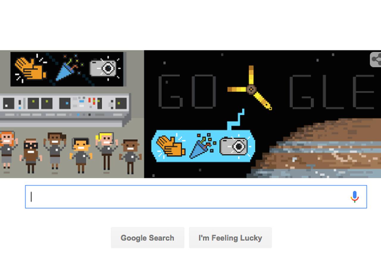 Naslovna strana Googlea u znaku približavanja Džuna Jupiteru