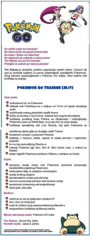 Oglas za radno mjesto: Pokemon GO trener