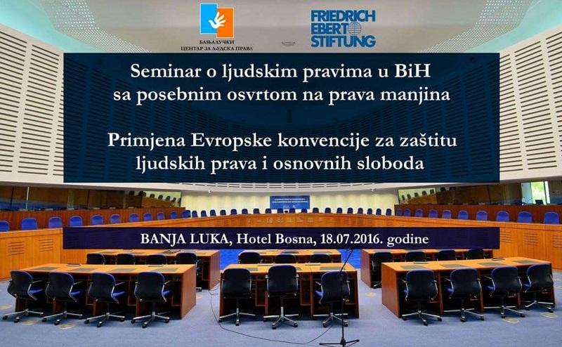Banja Luka: Seminar o ljudskim pravima u Bosni i Hercegovini sa posebnim osvrtom na prava manjina