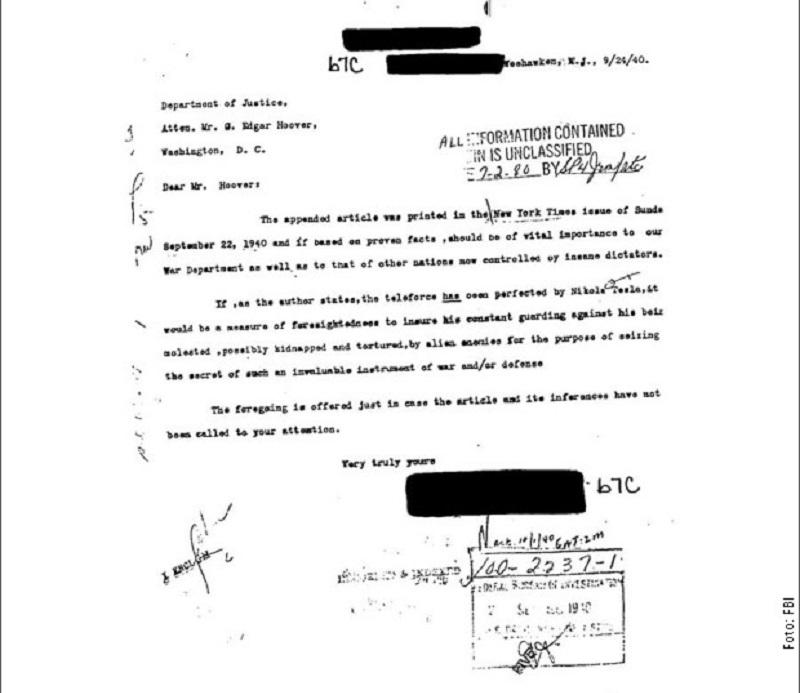 """FBI objavio dokumente o Tesli i """"zraku smrti"""""""