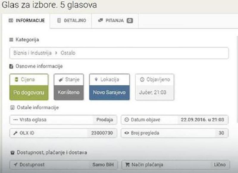 Glasovi se prodaju za 50 KM na internetu