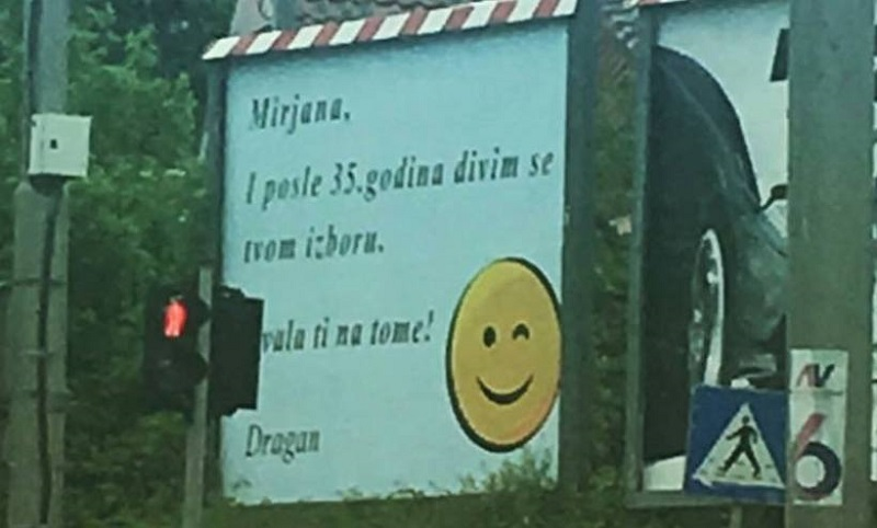 Dragan se zahvalio svojoj supruzi preko bilborda i nasmijao prolaznike