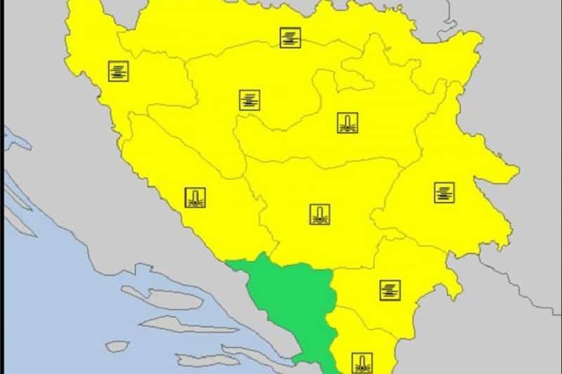 Za sutra upaljen žuti meteoalarm u Bosni i Hercegovini