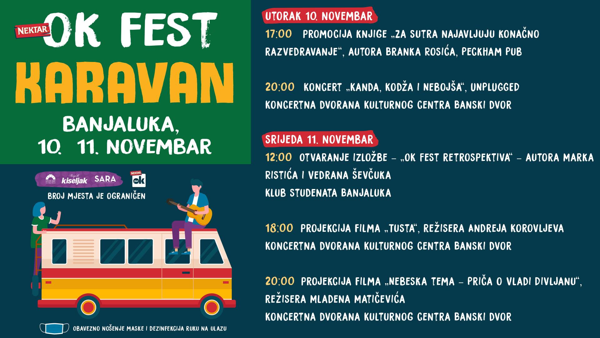 OK Fest karavan 10. i 11. novembra stiže u Banjaluku