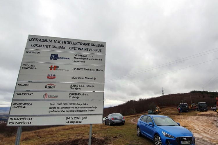 Počela gradnja prve vjetroelektrane u Republici Srpskoj