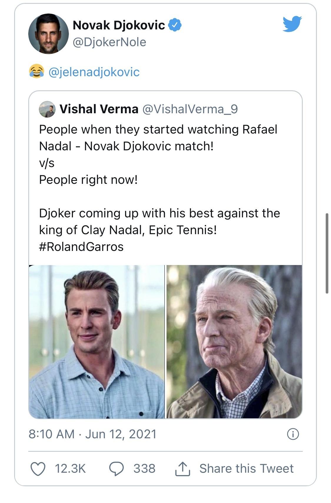 HIT NA DRUŠTVENIM MREŽAMA! Novak se našalio na Jelenin račun: Ovako si izgledala pre, a ovako posle mog meča sa Nadalom